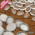 10set/lot Antique Silver Glass flower Pendant Cabochons 39x28mm metal Cameo cabochon clear oval diy glass cabochon base setting