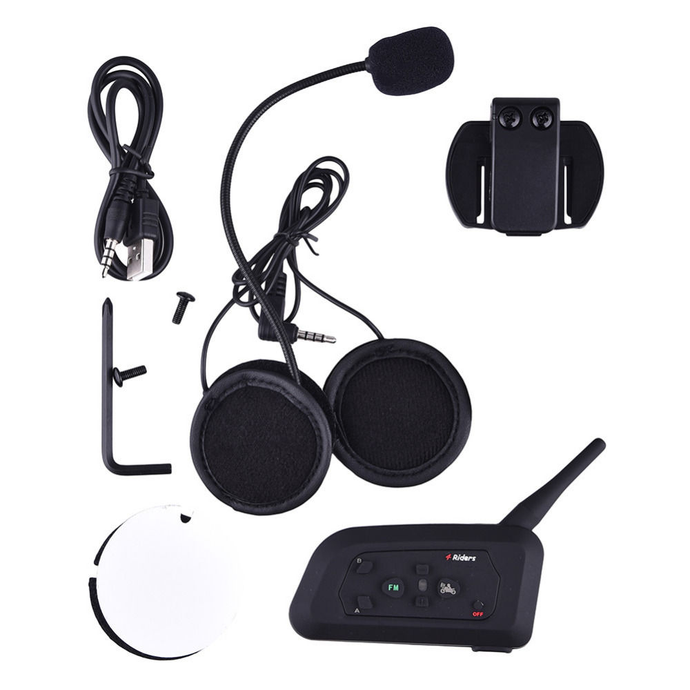 V4 1200M Skiing Motorbike Wireless Intercom Intercomunicador for 4 Riders Bluetooth Interphone With FM Radio Headset lexin 2pcs max2 motorcycle bluetooth helmet intercommunicador wireless bt moto waterproof interphone intercom headsets
