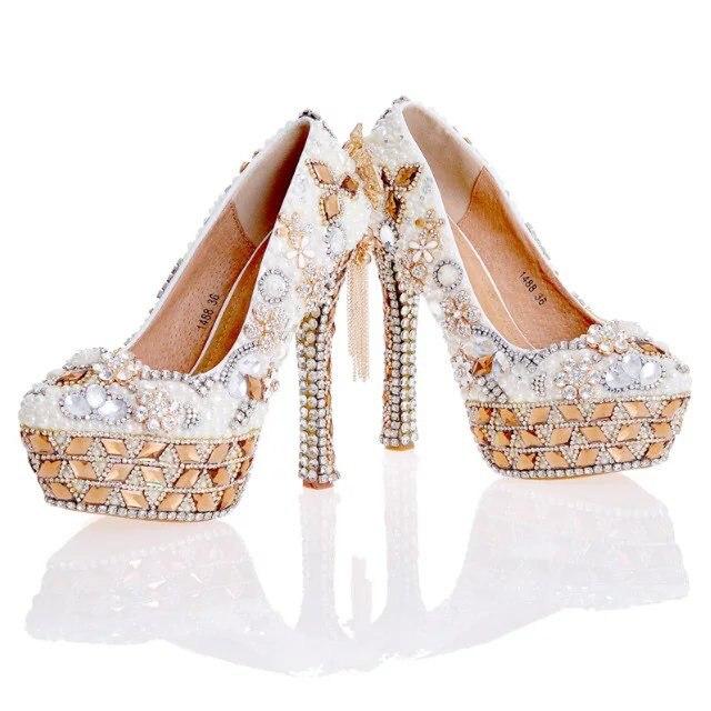 Nouvelle Mariage Conception Blanc Perle De Mariage Nouvelle Chaussures avec Sac 701244