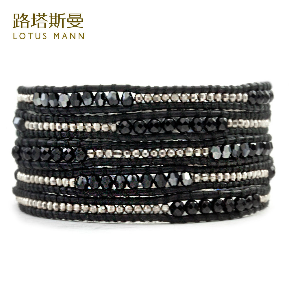 Lotus Mann Black and black bile color 925 sterling silver laser crystal beads in black leather cord bracelet five laps цена