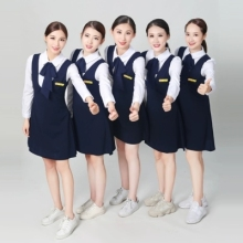 New kindergarten teachers wear spring and autumn long-sleeved blue dress work clothes team