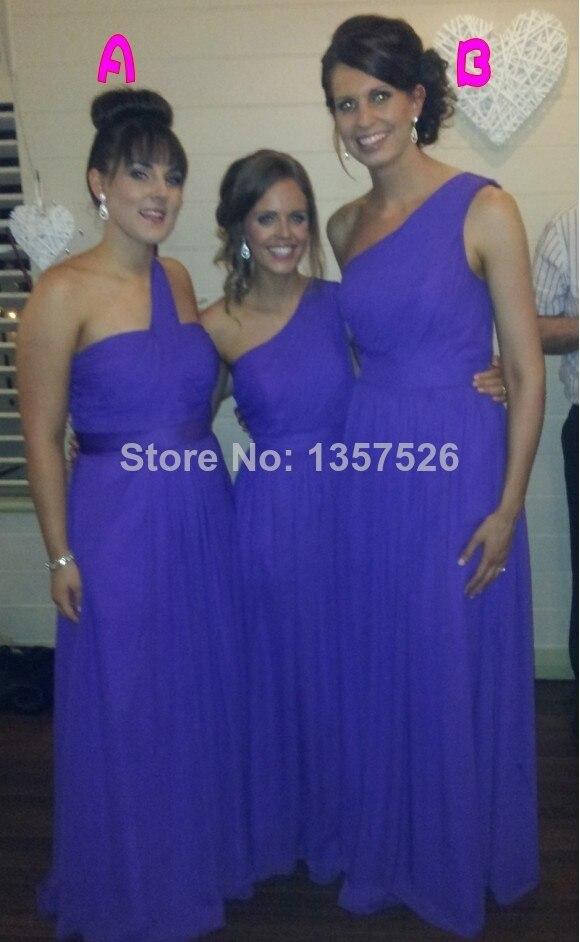 Miedoso Un Hombro Vestidos De Dama Púrpura Ideas Ornamento ...