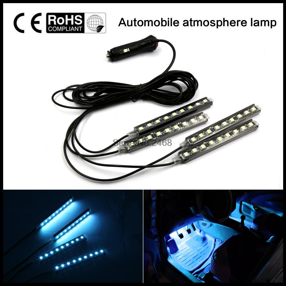 2016 4x9 LED 8 COLORS Led Car Atmosphere Lights Decoration Lamp 12v Auto CarLed Interior Lights Glow Decorative Lamp Bulb