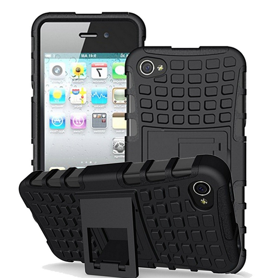 For iPhone 4 Case Armor 3D Hybrid Stand Holder Anti-knock Luxury Phone Case for iPhone 4S iPhone4 iPhone4S Back Cover Silicone