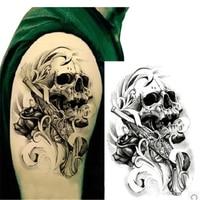 Gun & Skull Waterproof Body Arm Art Tattoo Sticker On The Body Handsome Tatouage Glitter Temporary Tattoos For Man Body Tattoo Temporary Tattoos
