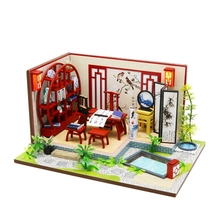 цена на Wooden Toy Diy Dollhouse Miniature Dollhouse Handmade Doll House Furniture Puzzle Assemble 3D Miniaturas Model Toys for Childr