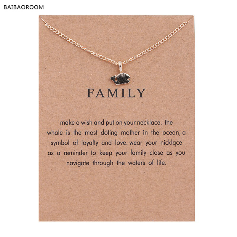New Gold-color Family Small Shark Fish Alloy Clavicle Snake Bone Pendant Short Necklace