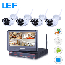LEF 4CH NVR DVR WIFI CCTV Kit 4PCS HD Wireless Outdoor Camera  with 10 inch LCD Monitor P2P Security Camera System