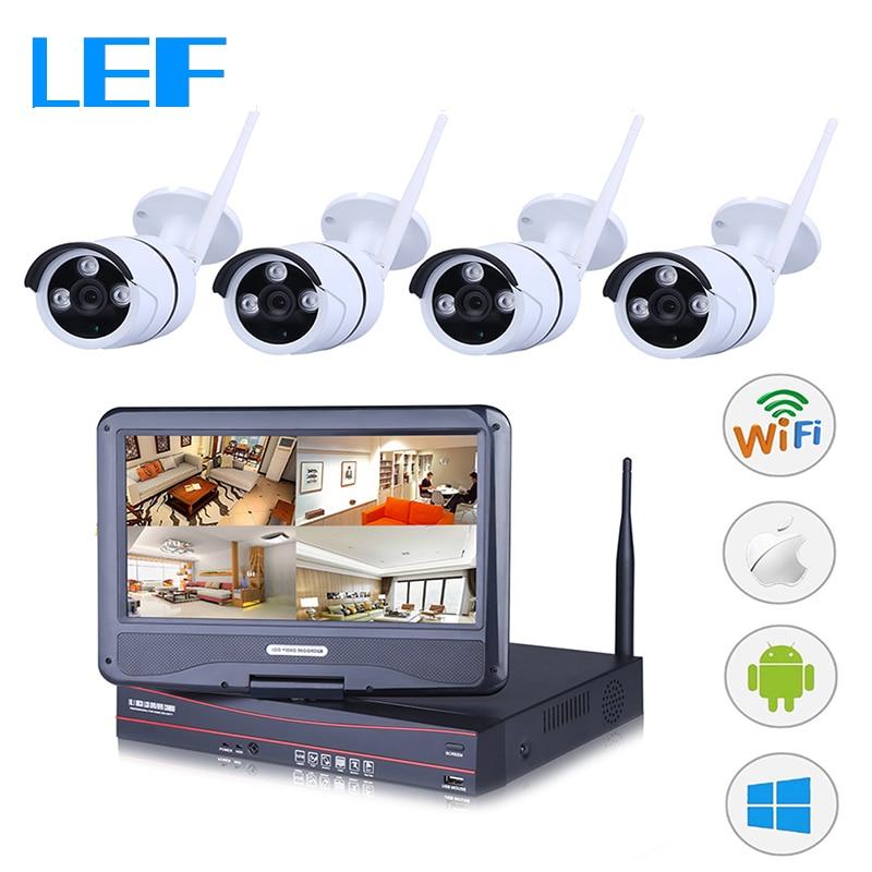bilder für LEF 4CH NVR DVR WIFI CCTV Kit 4 STÜCKE HD Wireless Outdoor-kamera mit 10 zoll LCD Monitor P2P Sicherheit Kamera System