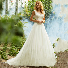 Thinyfull 2019 Simple Lace Wedding Dress robe de soiree A-Line Tulle Applique Boho Gown Small Train Custom Made