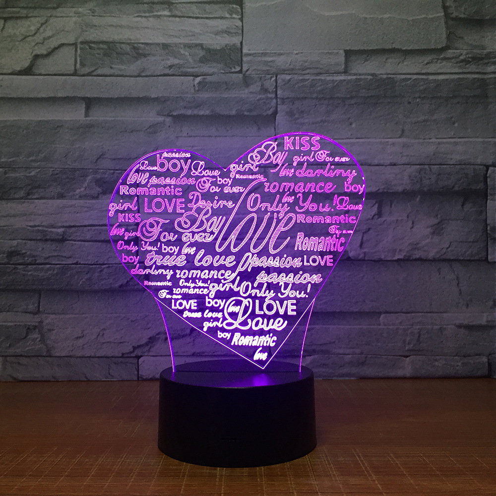 Heart Letters 3d Led Lamp 7 Color Night Lamp For Kids Touch Led Usb Table Lampara Baby Sleeping Nightlight Room Lamp Mom's Gift