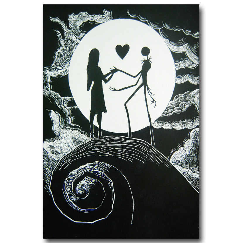 Tim Burton Nightmare Before Christmas Artwork.The Nightmare Before Christmas Art Silk Poster Canvas Print