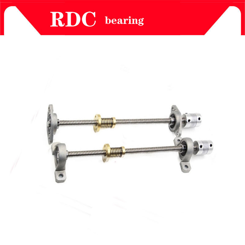 T8 Lead screw Trapezoidal 1000MM8mm + Anti-Backlash Nut + KP08 or KFL08 bearing Bracket +Flexible Coupling for 3D printer&CNC цена