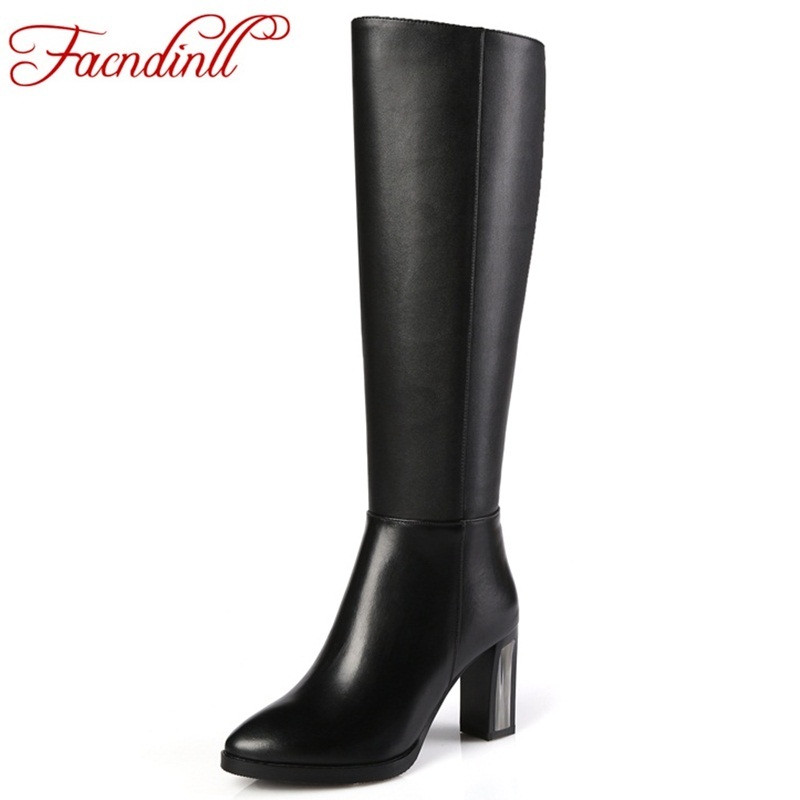 FACNDINLL elegant women shoes ladies fashion winter warm knee high boots woman genuine leather+pu women black thigh high boots facndinll genuine leather sandals for