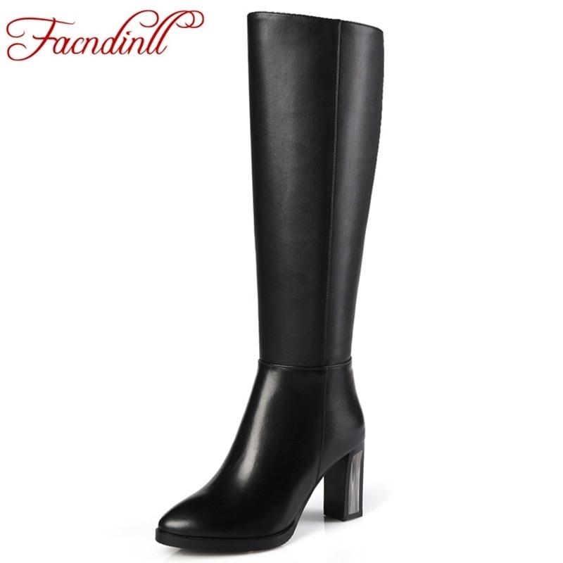 FACNDINLL elegant women shoes ladies fashion winter warm knee high boots woman genuine leather+pu women black thigh high boots цена