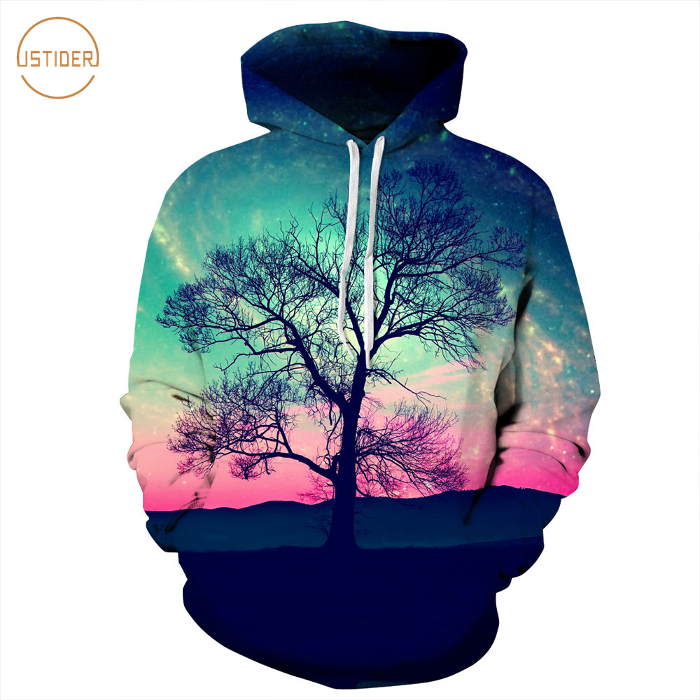 ISTider New 3D Galaxy Hooded Hoodies Nightfall Sunset Glow Tree Printing Hip Hop Sweatshirt Autumn Winter Thin Hoodie MenWomen