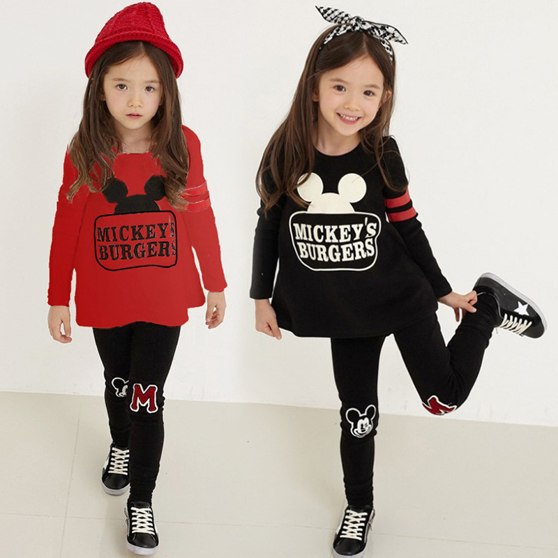 Hot Sale New 2016 Spring Kids Clothes Long Sleeve Pullover Sports Suit Casual Boys Girls Clothing Set Cartoon Children Sets  europe hot sale baby girls long sleeve velvet plaid top pant suit fashion childrens casual clothes princess clothing 16d1224