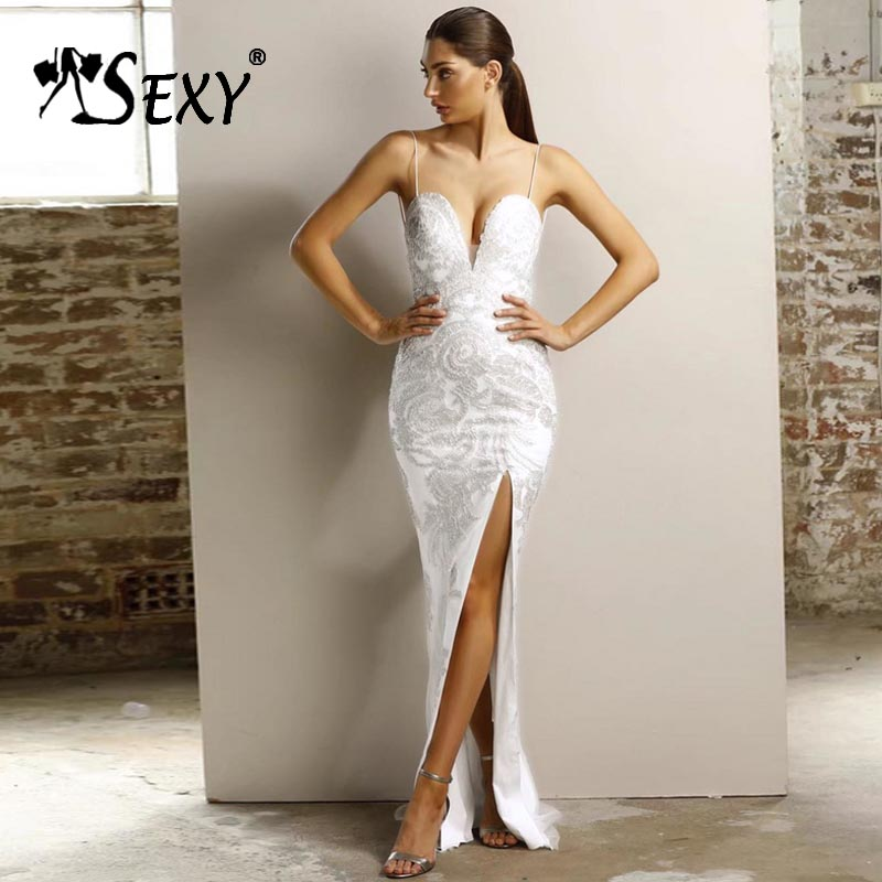 Gosexy 2019 New Women Sexy White Bandage Dress Spaghetti Deep V Neck Backless Sleeveless Party Solid