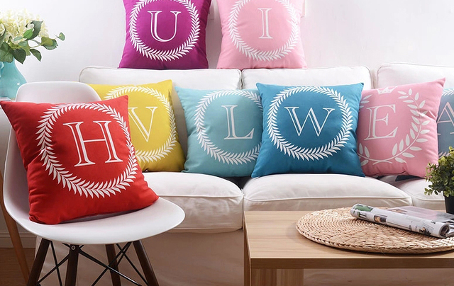 Capital Letters Baby Name Initial Cushion Cover Pillow Case Color Home Love  Life Alphabet Sofa Cushions