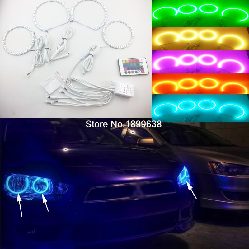 Super bright 7 color RGB LED Angel Eyes Kit with a remote control car styling For Mitsubishi Lancer 2008 - 2015 non projector for mitsubishi lancer 2008 2015 non projector excellent multi color ultrabright 7 colors rgb led angel eyes halo rings led light