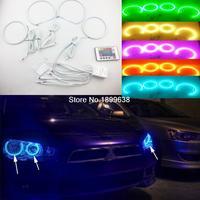 Kit de luces LED de Ojos de Ángel para coche Mitsubishi Lancer Kit de luces RGB superbrillantes de 7 colores con control remoto, diseño de coche sin proyector