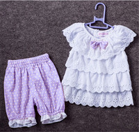 2016 Summer Style Sweet Baby girl set cotton Children Girl 2pcs hollow Outfits Clothes Ruffled lace T-shirt Tops+ Dots Pants Set