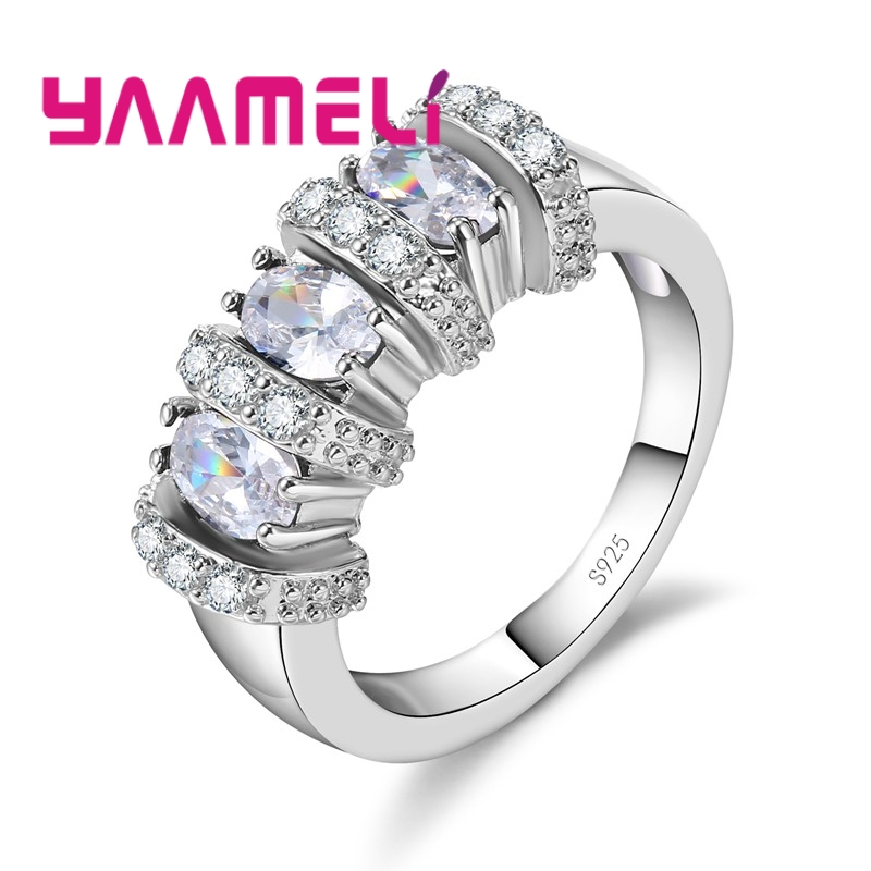 YAAMELI Ring 925 Sterling Silver White Round Crystal Stone White/Red/Green/Sky Blue/Dark Blue Seaside Holiday Dinner For Women ...
