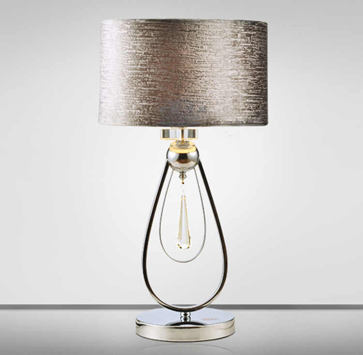 TUDA LED Table Lamp Crystal Table Lamp Living Room Bedroom Bedside Fabric Wrought Iron Table Lamp E27 110V 220V