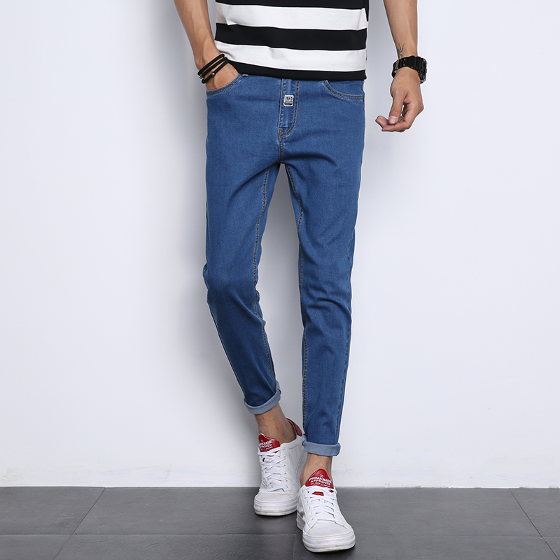 2018 New Mens Blue Jeans Slim Fit Young Male Stretch Pants Fashion Casual Men Ankle Length Pants