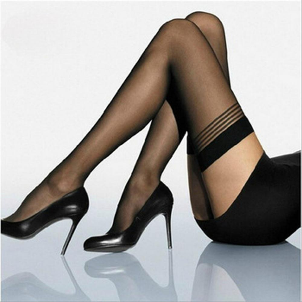 1 Pair Fashion Black Tight Women Lingerie Sexy Lace Stripe Stay Up Thigh-Highs Pantyhose Stockings Tights