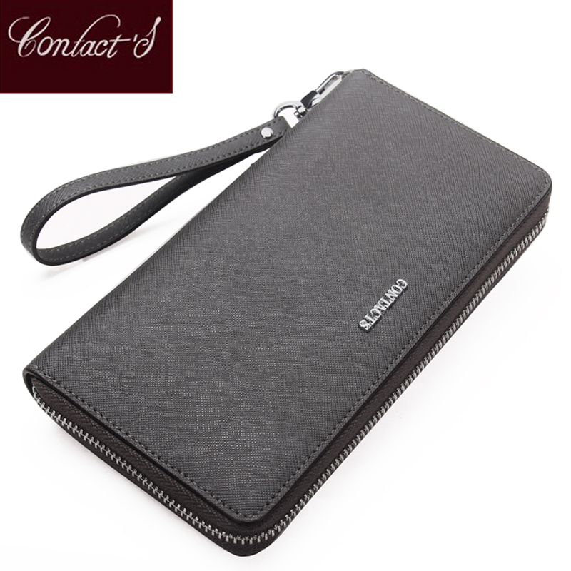 Contact's Genuine Leather Women Wallets Dollar Price Phone Pocket Card Holder Female Zipper Clutch Coin Purse Ladies Wristlet wallet female famous brand long zipper women s wallets pu leather big dollar money bag lady purse with card coin pocket 500503