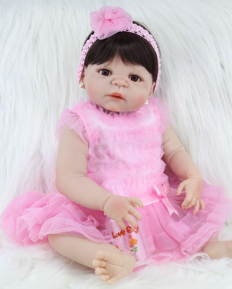 22 Full Silicone Bebe Reborn Girl Lifelike 55cm Vinyl Newborn Baby Toddler Dolls Waterproof Body Boy and Growth Partner
