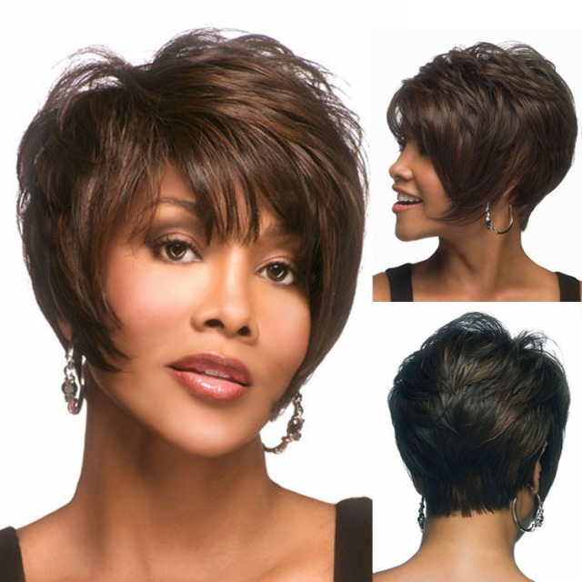 2015 New Brown Mixed Color Layered Lambskin Short Pixie Cut Wig Heat Resistant Synthetic African