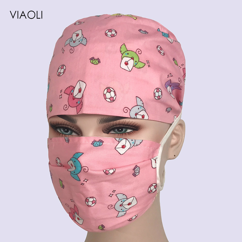 VIAOLI Surgical Scrub Caps Medical Printed Adjustable Cotton Dental Surgeon Caps Hats Surgical Clinical Doctor Scrub Caps Unisex