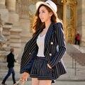 Original Nuevo 2016 Marca Otoño Corto Plus Size Casual Elegante Azul Marino A Rayas Otoño Mujeres Pantalones Cortos Al Por Mayor