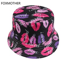 FOXMOTHER New Fashion Summer Gorras Black Lips Bucket Hat Woman 2019 Caps
