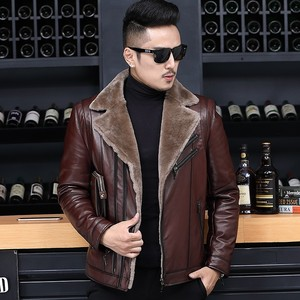 Image 2 - 冬のビジネスの男性本革ジャケット厚いウールライニングショートコートのオフィス作業高級シープスキンムートンレザーコートをジャケットプラスサイズ