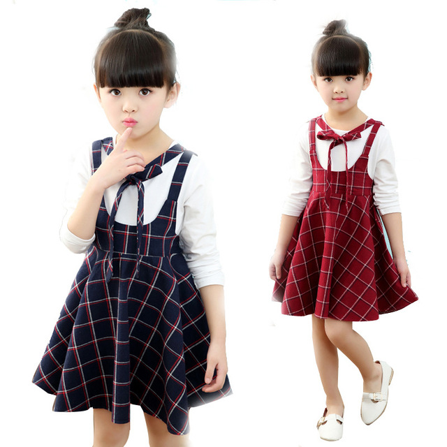 13bb75f3f8de Kids 2018 new summer plaid long-sleeved dress cotton student girl dress 3 4  5 6 7 8 9 10 11 12 years old baby girl clothes