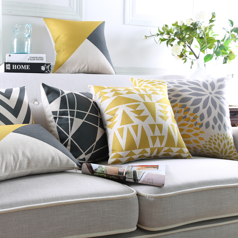 Modern Geometric Cushion Cover Yellow Pillows Decorative Pillowcase Grey Throw Pillows Sofa ...