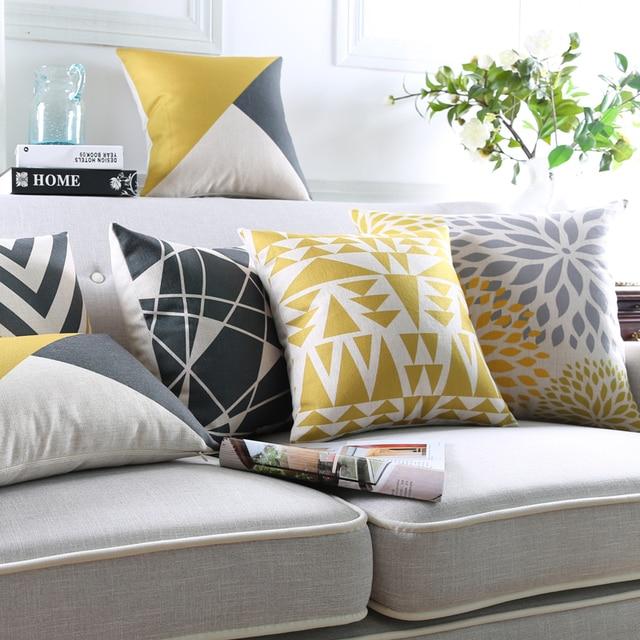 Moderno geometrico cuscino giallo federa grigio cuscini decorativi cuscini divano sedia cuscino - Cuscini decorativi per divano ...