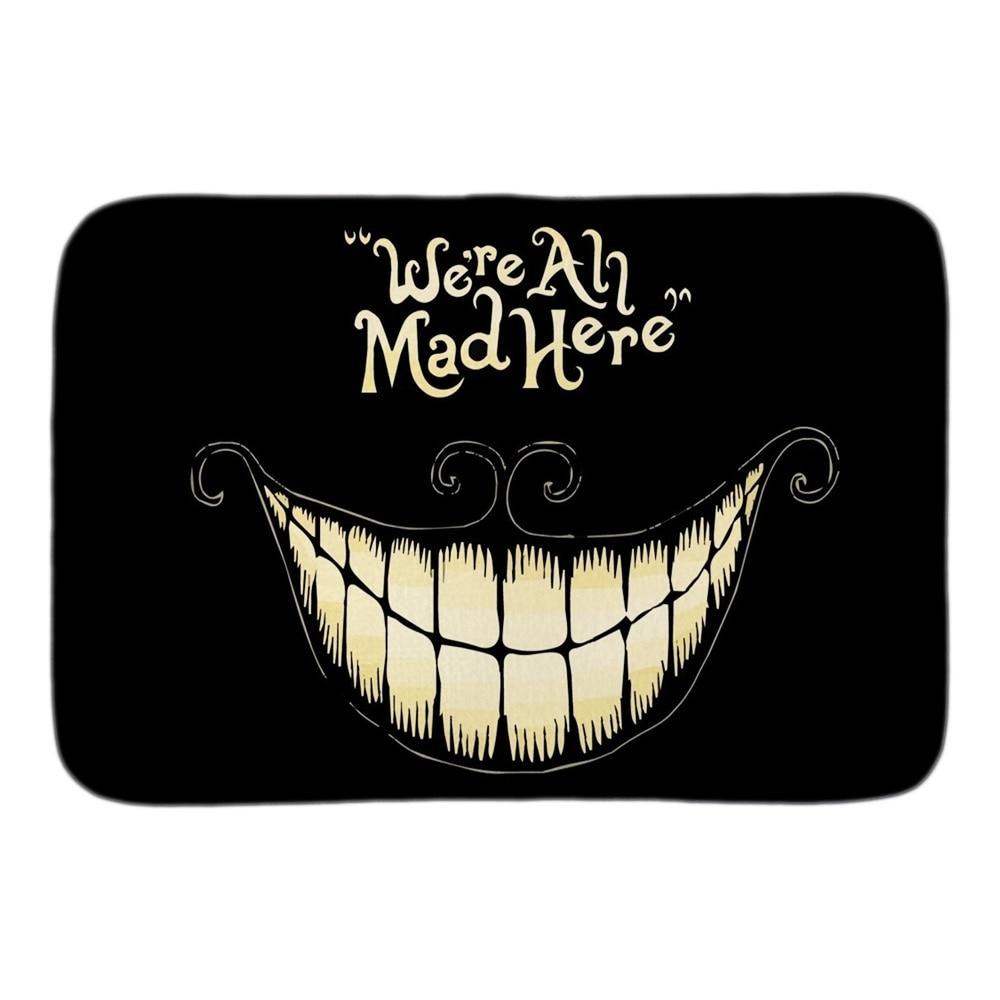 Alice No País Das Maravilhas somos Todos Loucos Aqui Engraçado Capacho Tapete Porta de Entrada Interior Tapete de Chão Do Banheiro de Pelúcia Curto Macio tecido