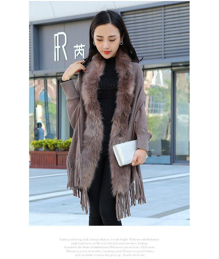 Faux Fur Collar Shawl Cardigan Tassel Winter Warm Coat 16