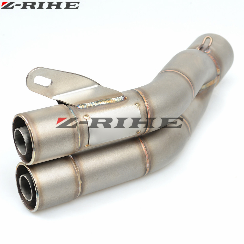 35-51mm Universal Motorcycle Double Exhaust Muffler Pipe For Kawasaki honda PCX 125/150 PCX125/150 PCX150 PCX 150 all year цена