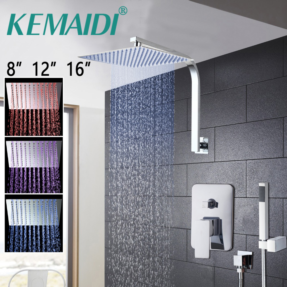 KEMAIDI 81216 Bathroom LED Bathtub Shower Head Rainfall Shower Set Wall Mounted Swivel Mixer Taps Shower Faucets Ultra-thin 8 led bathrome bathtub rainfall shower head polished wall mounted swivel mixer taps shower faucets set chrome finish
