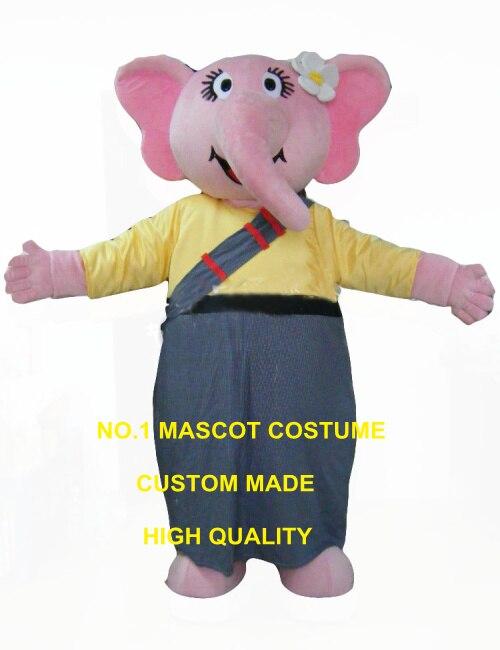 Costume de mascotte rose éléphant fille taille adulte bande dessinée publicité elphant costumes carnaval déguisements kits pour l'école 3437