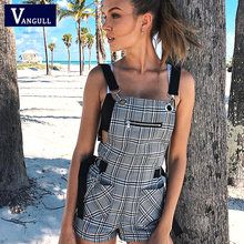 Vangull Vrouwen Casual Playsuit Plaid Romper Jumpsuit Shorts Zomer Backless Strap Overalls Vrouwelijke Lady Bandage Gesp Playsuit(China)