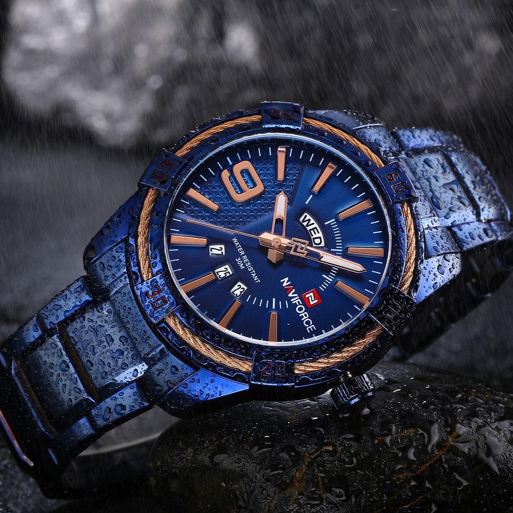 Naviforce Топ Роскошные мужские часы синие водонепроницаемые часы с датой недели кварцевые часы мужские спортивные наручные часы из полной стали мужские часы - 5