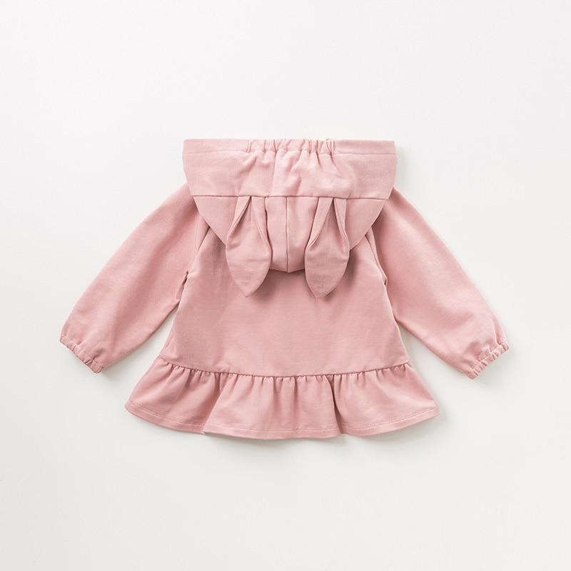 DBM10840 dave bella spring autumn baby girls cute rabbit hooded coat children tops fashion infant toddler outerwear