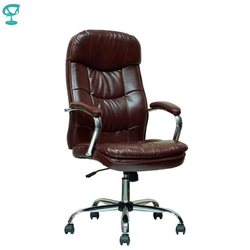 94649 Brown Office Chair Barneo K-2 Perforated Eco-leather High Back Chrome Armrests With Leather Straps Free Shipping In Russia