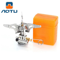 AOTU Camping Mini Gas Stove Furnace Portable Gas Burner Folding Stoves One Piece Foldable Outdoor Cooking
